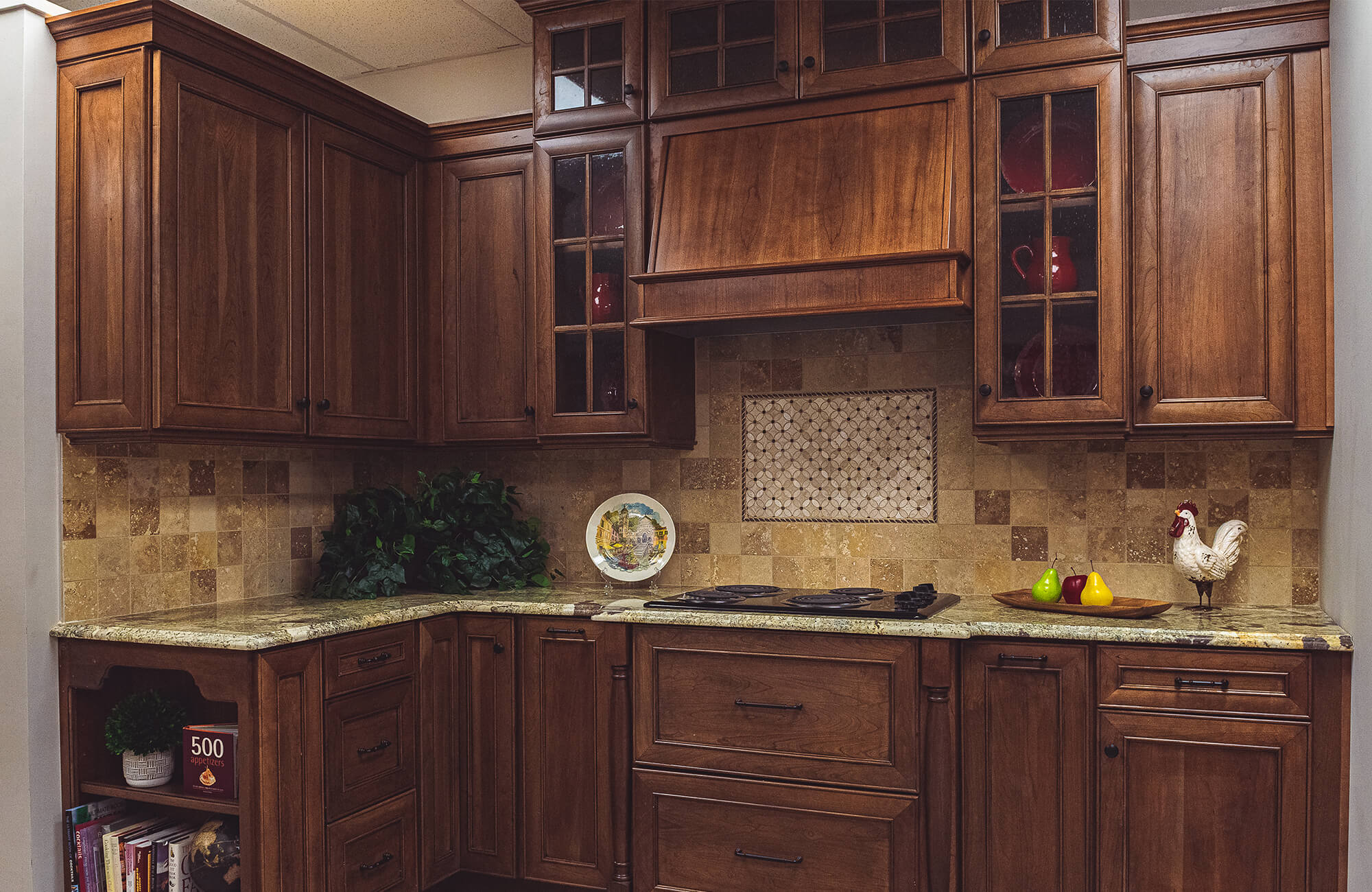 Dark stained wood showroom kitchen stove